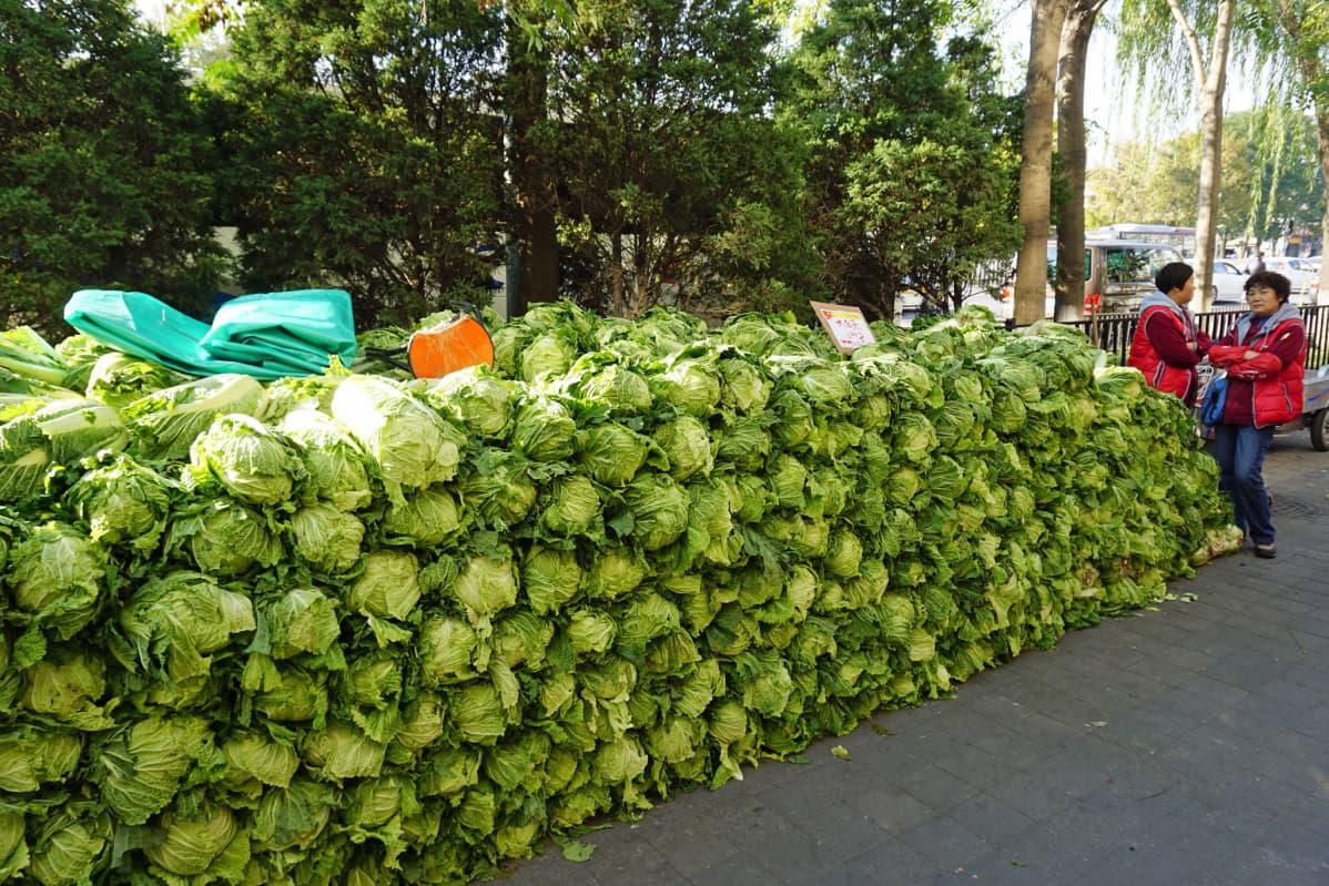 Kiinankaalia myytävänä Pekingissä.