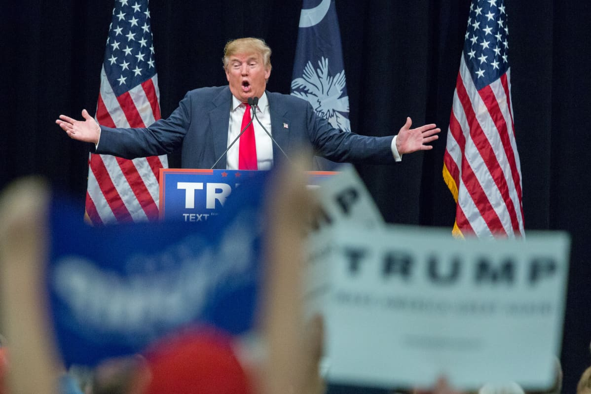 Republikaanien ehdokas Donald Trump puhui kannattajilleen Myrtle Beachissa, Etelä-Carolinassa 19.2. 2016.
