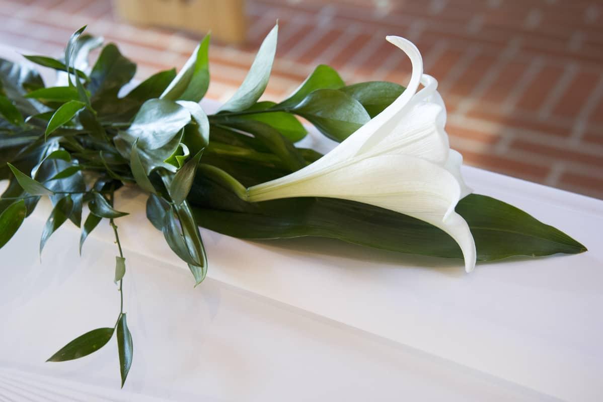 Lilja ruumisarkun päällä