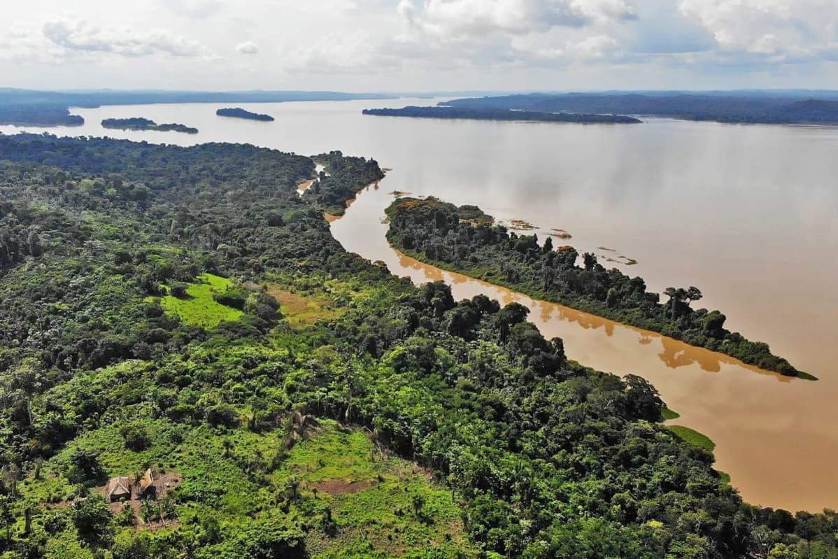 Ilmakuva Tapajós- ja Jamanxim-jokien yhtymäkohdasta Brasiliassa, alhaalla etualalla munduruku-intiaanien Sawré Muybu -kylä.