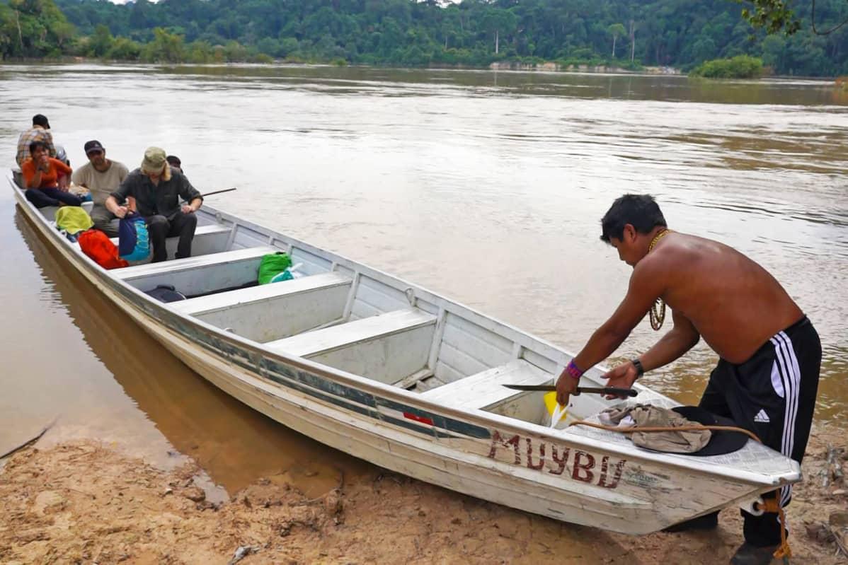Mundurukukylän päällikkö Juarez Saw astumassa veneeseen Jamanxim-joen rannassa.