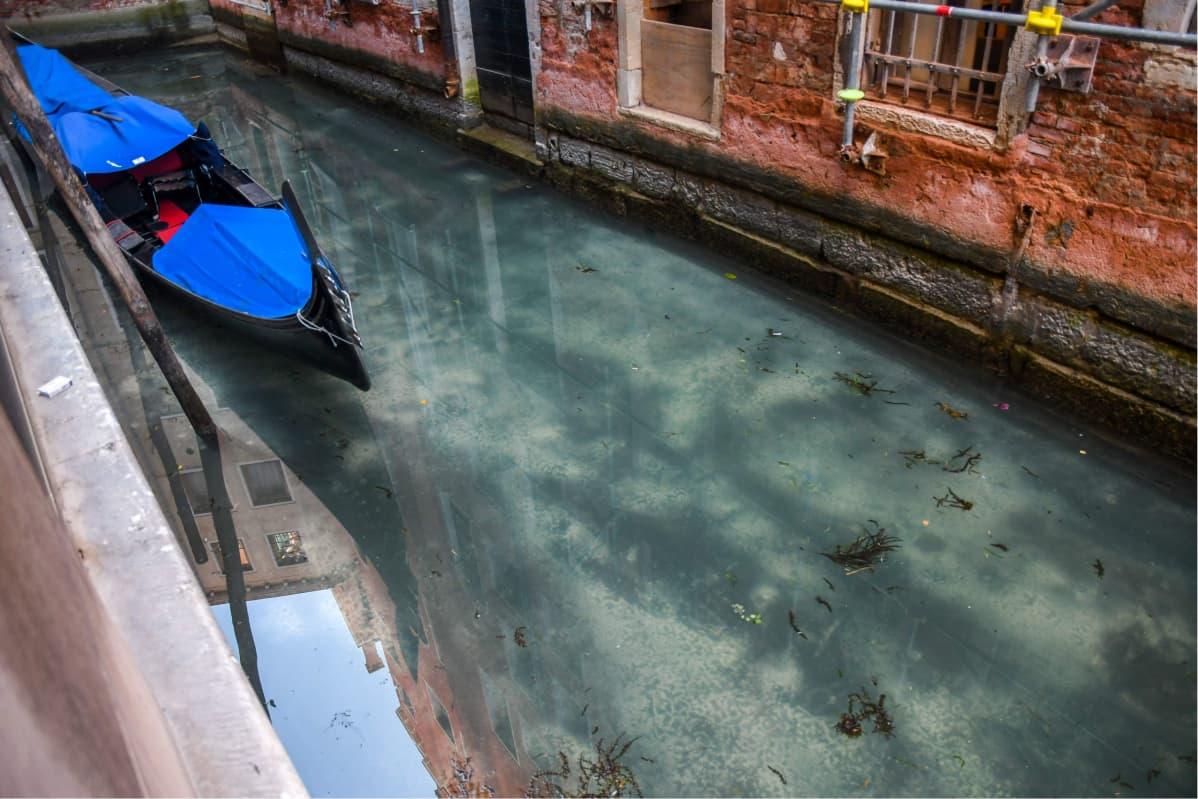 Turkost vatten i Venedigs kanaler. En gondol på bild.