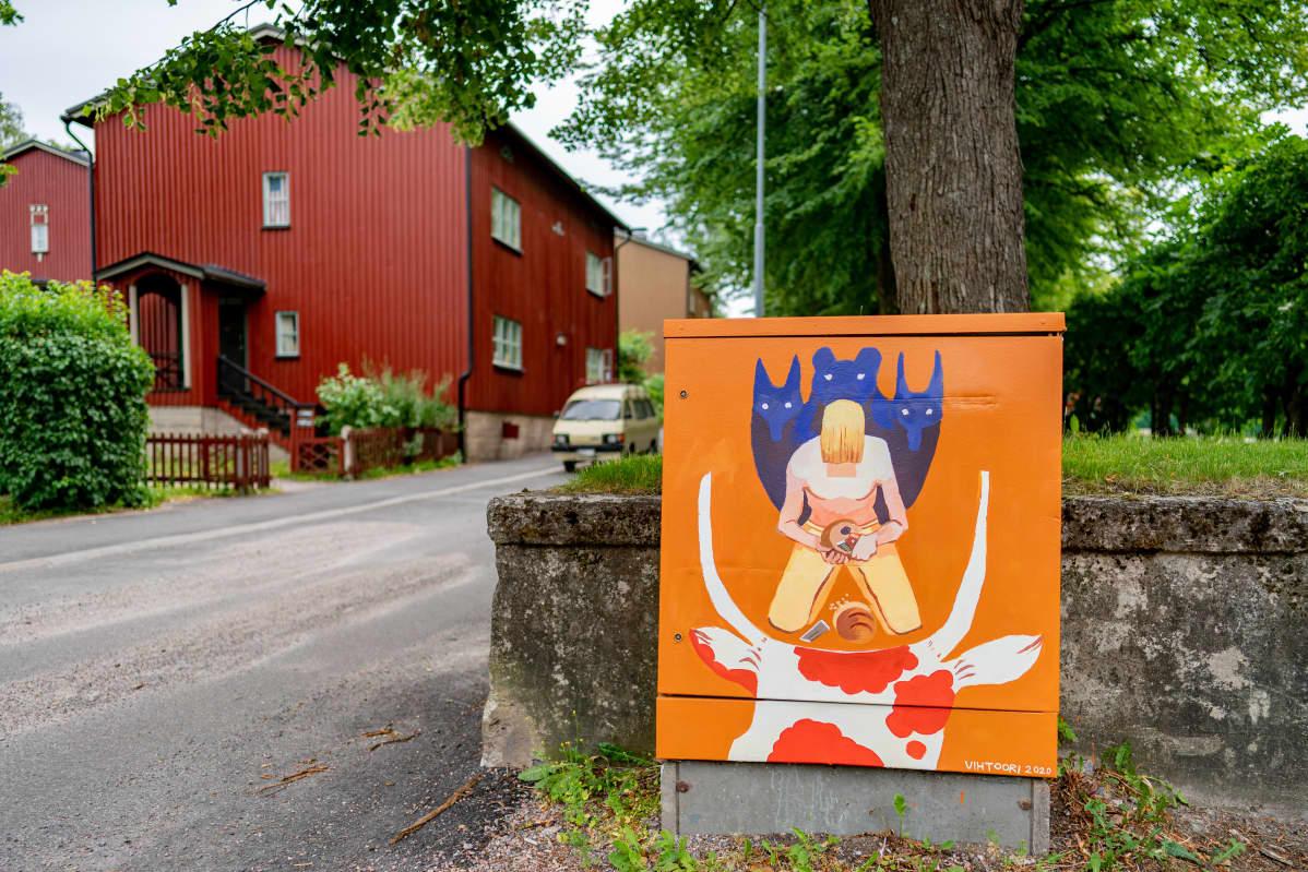 Kalevala-aiheinen sähkökaappi Käpylässä, Metsolantie 18.