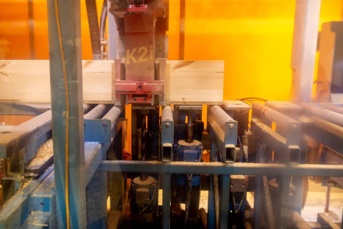 Hundegger puuntyöstölinjasto työstää hirsiä Ollikaisen hirsitalotehtaalla