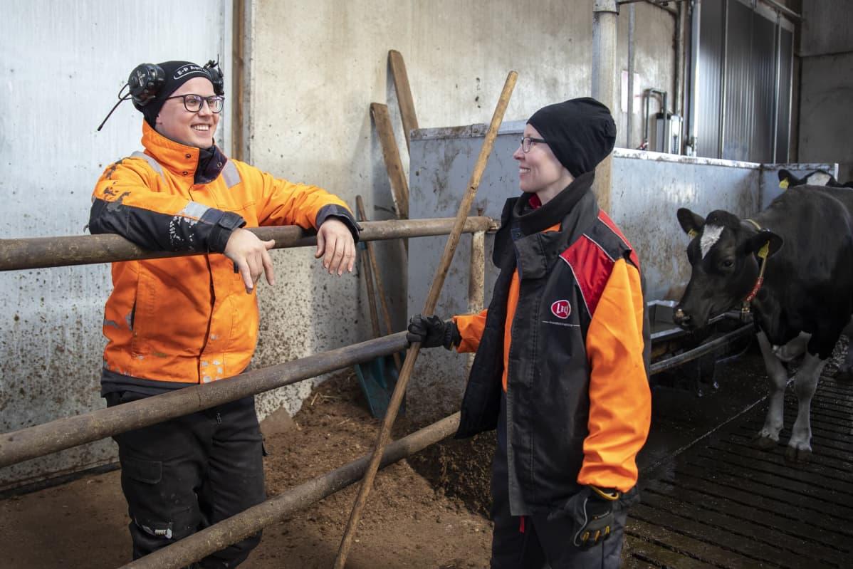 Juha ja Suvi Luhtanen keskustelevat pihatossa askareiden lomassa