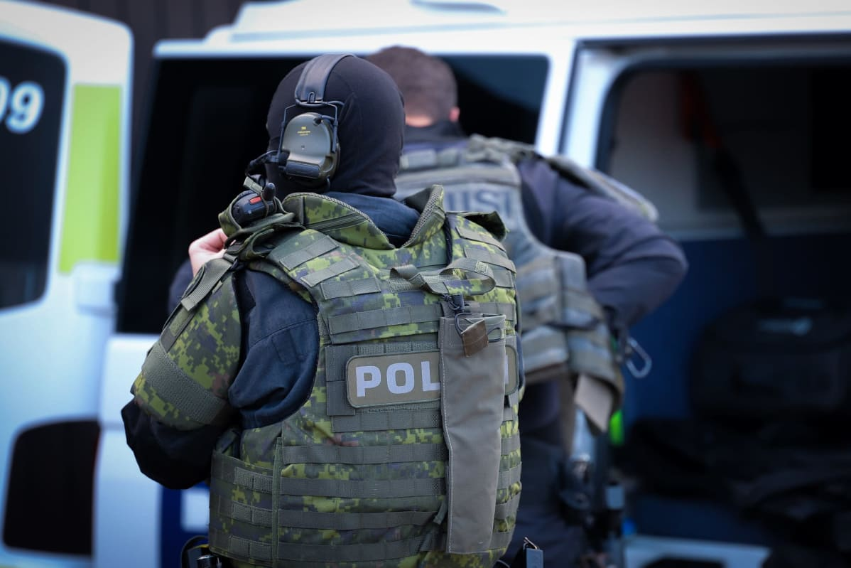 police protective gear on site