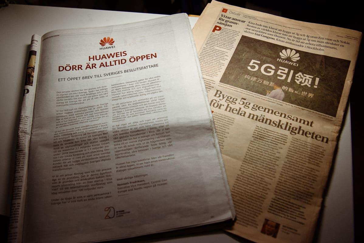 Kuvassa on ruotsalaisia sanomalehtiä.