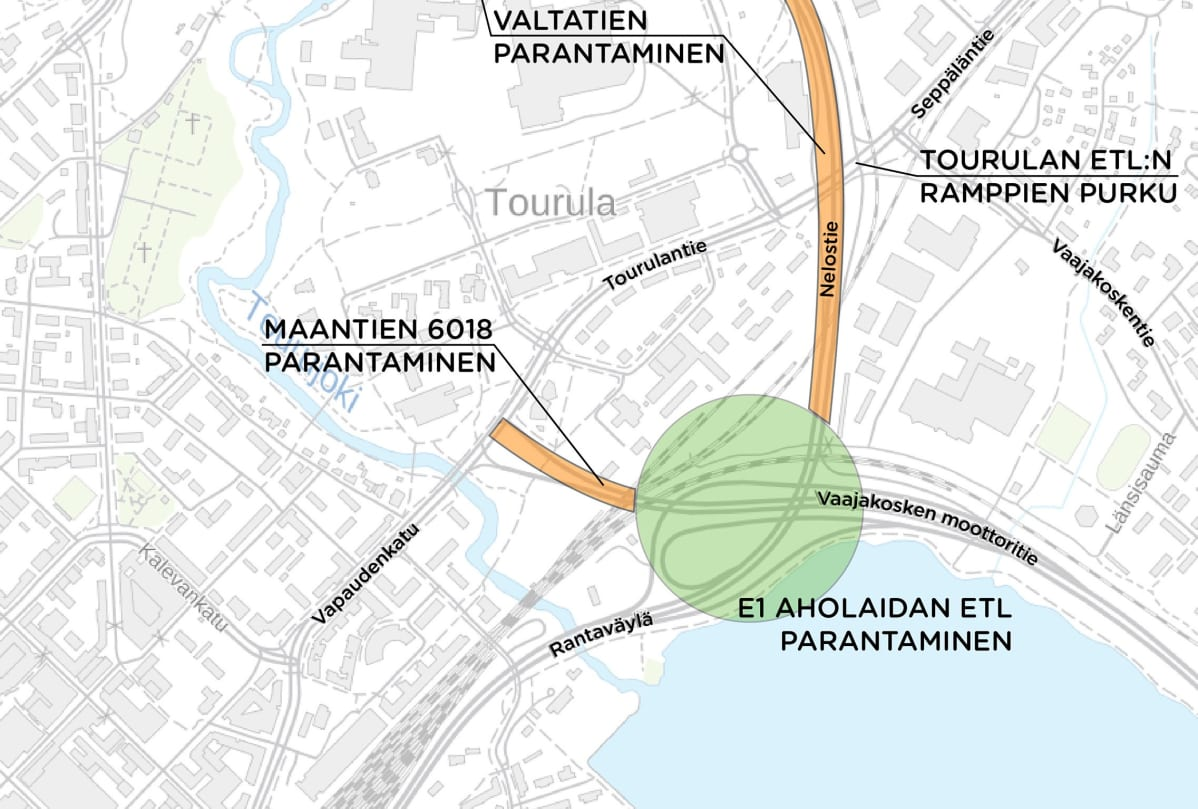 Rantaväylän tiesuunnitelman kartta.