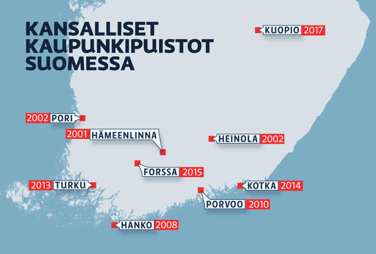Kansalliset kaupunkipuistot Suomessa -kartta