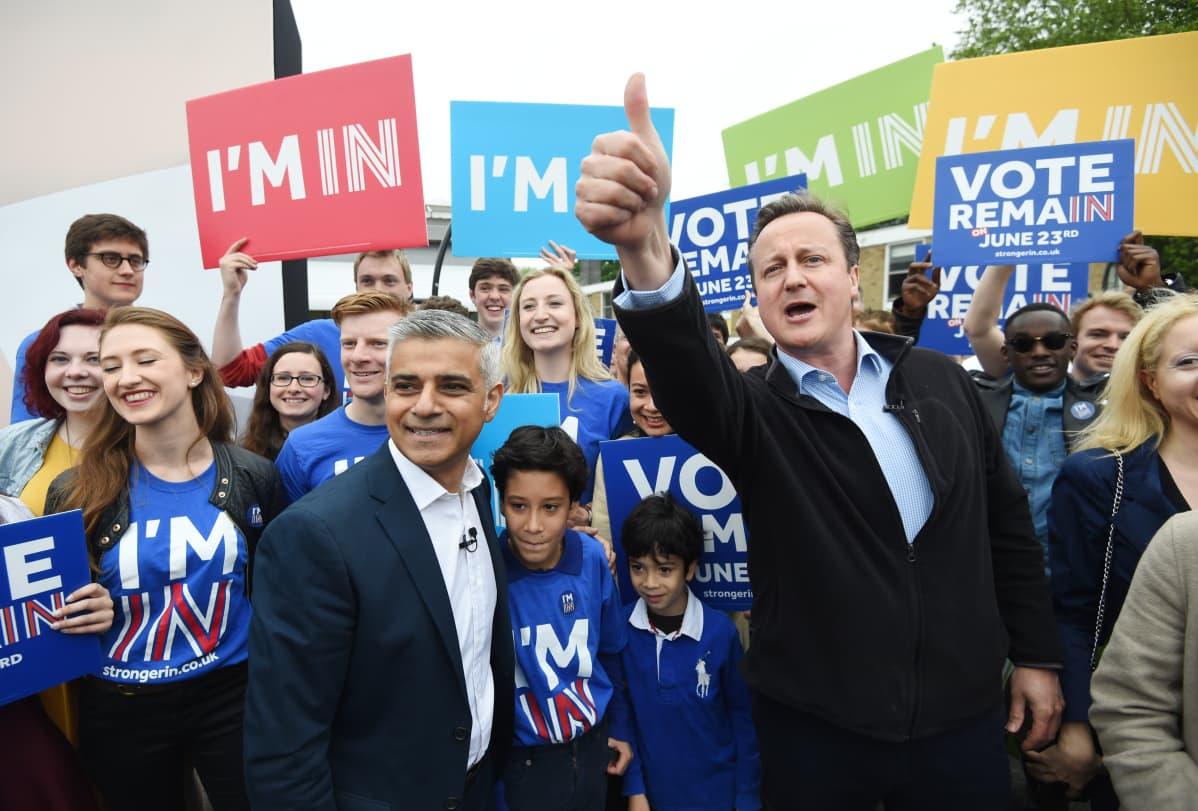 David Cameron kampanjoi brexitiä vastaan 29.5.2016