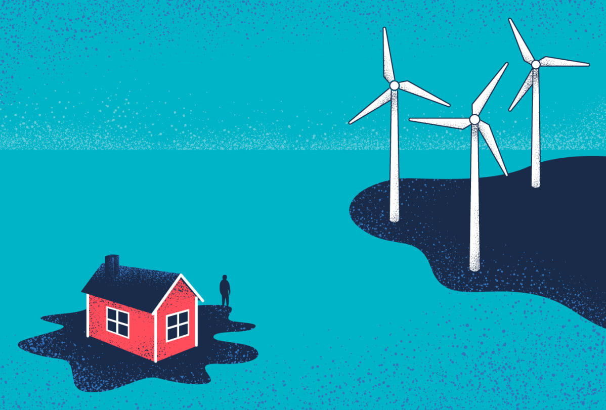 Kuvitus, jossa on mökki saaressa ja tuulivoimaloita.