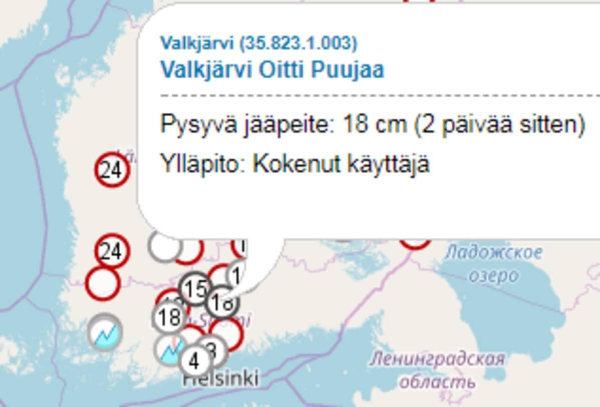 Etelä-Suomen jäähavaintoja