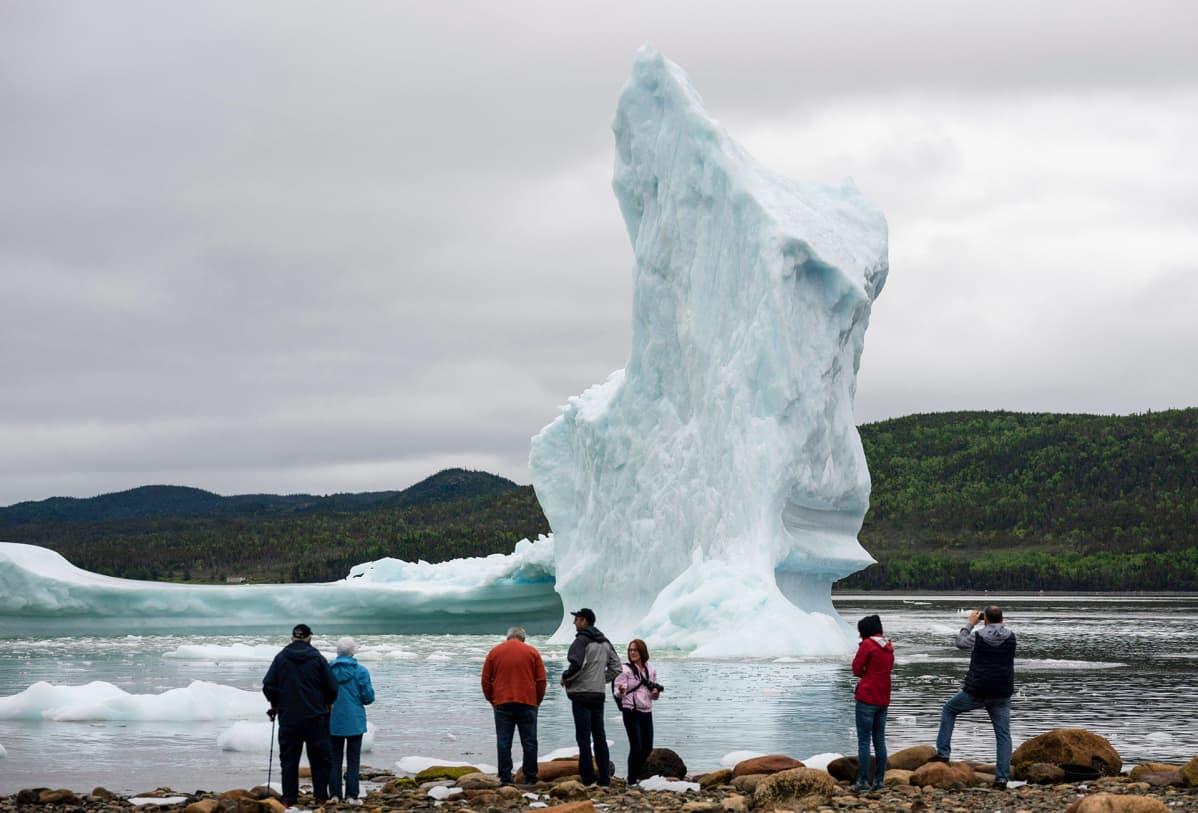 Turistit ihailevat jäävuoren palasta Kanadassa.
