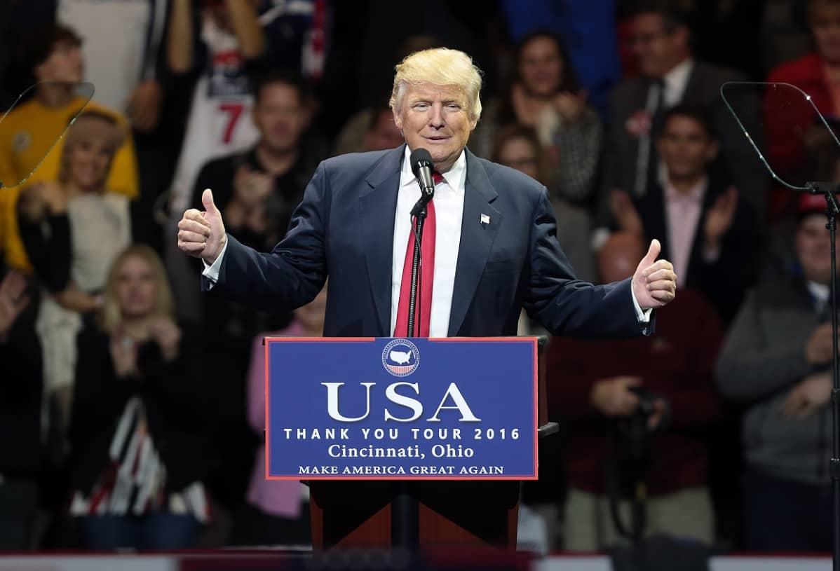 Donald Trump kiitoskiertueella Ohiossa 1. joulukuuta.