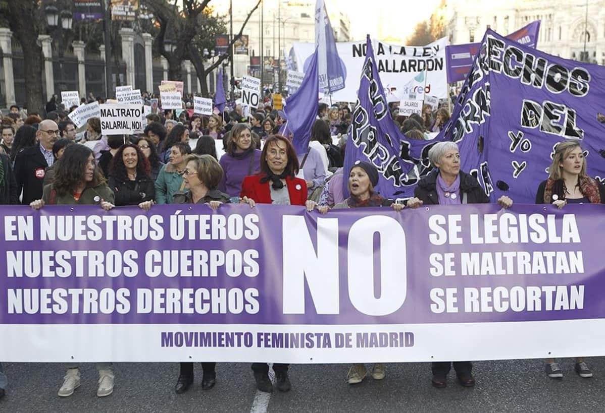 Ihmiset osallistuivat aborttilain kiristystä kritisoivaan mielenosoitukseen kansainvälisenä naistenpäivänä Madrisdissa 8. maaliskuuta 2014.