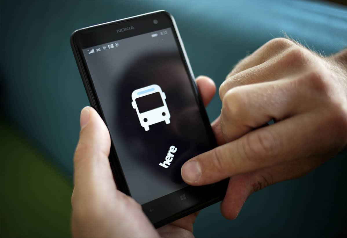 Nokian Here-karttasovellus Nokia Lumia -puhelimessa.