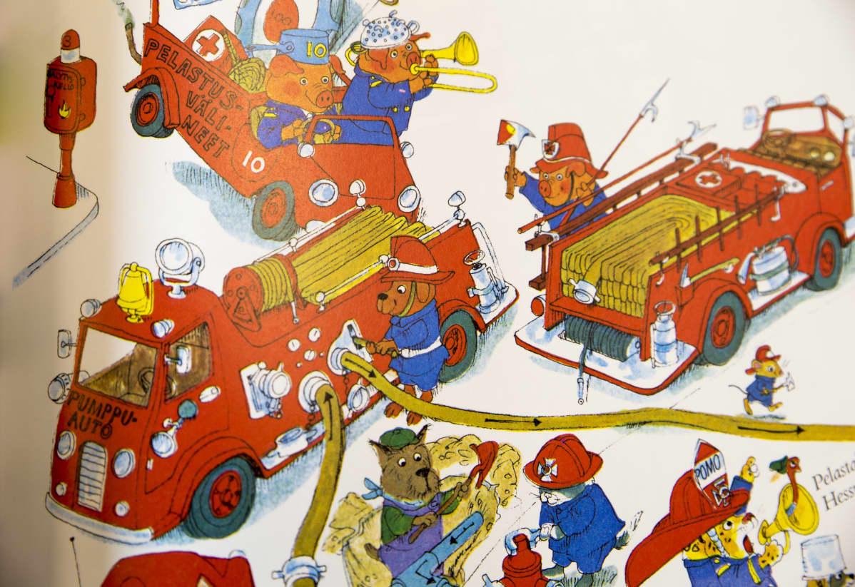Paloautoja Richard Scarryn touhukkaassa maailmassa.