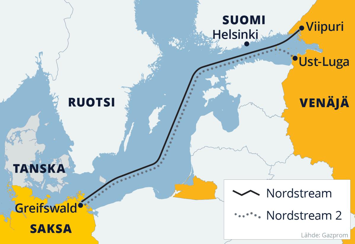 Kartalla Nordstream-kaasputien reitit Itämerellä.