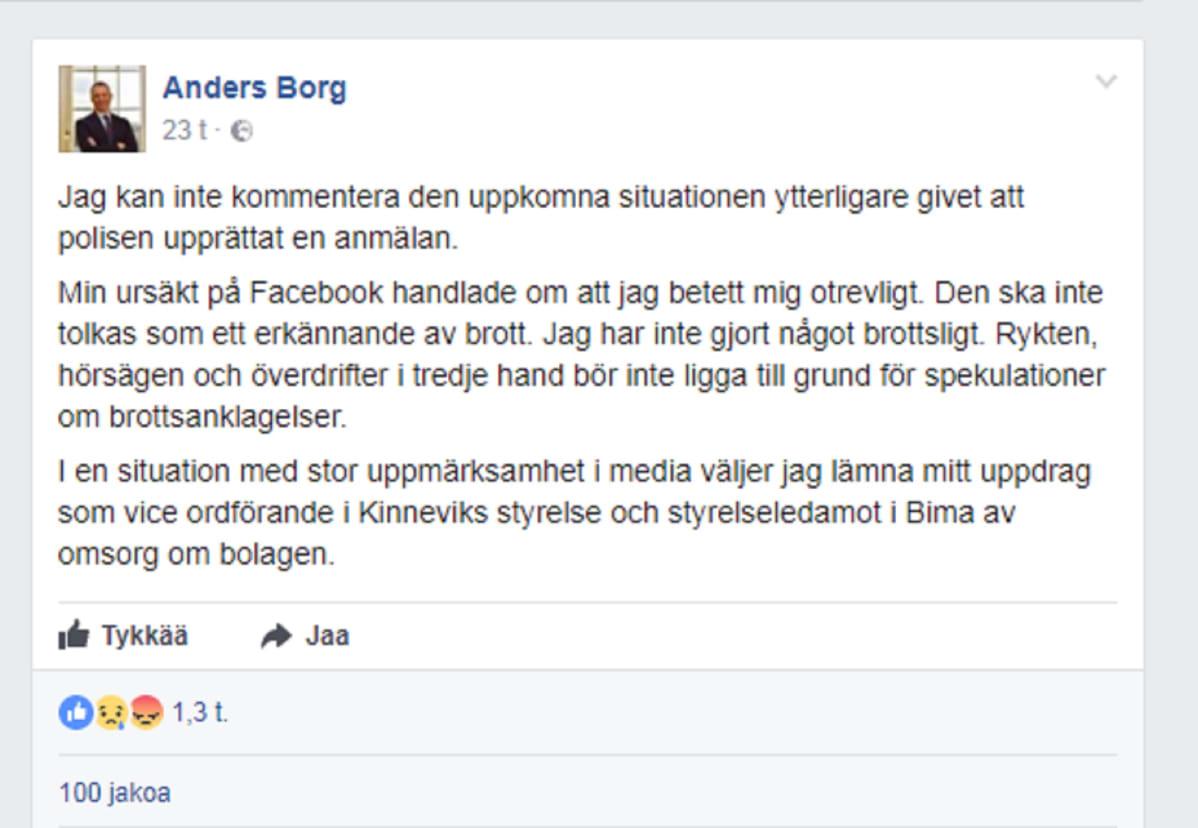 Borgin Facebook-päivitys.