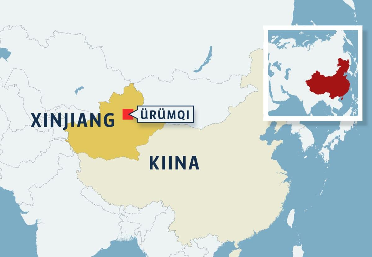 Kiina Xinjiang kartta.