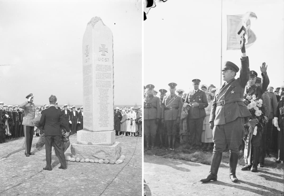 Sukellusvenemiesten muistomerkillä Hamnskärin saarella Suomenlahdella