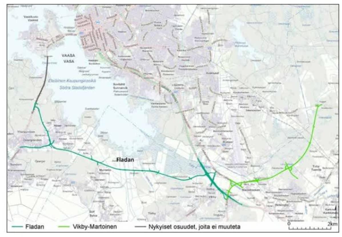 Kartta, jossa näytetään Fladan reitti uudeksi Satamatieksi Vaasaan