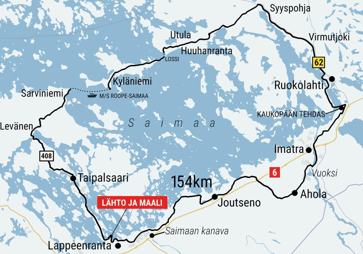 154 kilometrin pituinen Saimaan saaristoreitti kiertää Suur-saimaan Taipalsaaren, Ruokolahden, Imatran ja Lappeenrannan kautta.