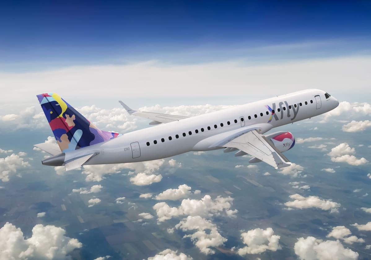 Virolaisen  XFlyn Embaer matkustajakone lennolla
