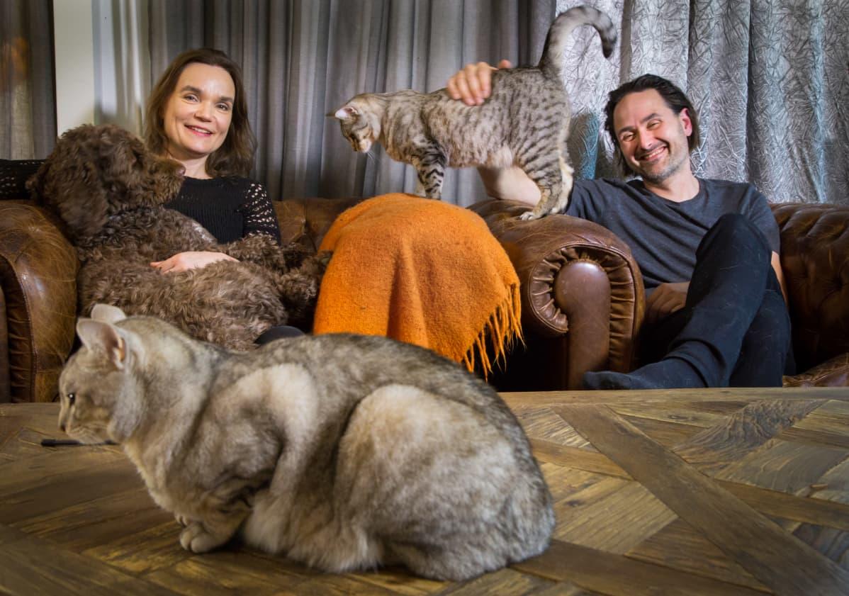 Riina ja Sami Kaarla lemmikkieläimineen kotonaan.