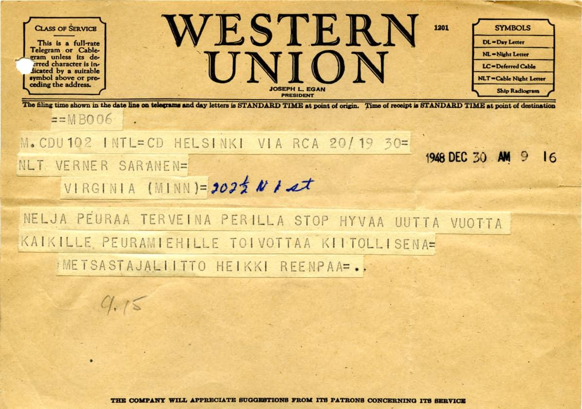 Laukonpeurojen lähetyskortti 1948