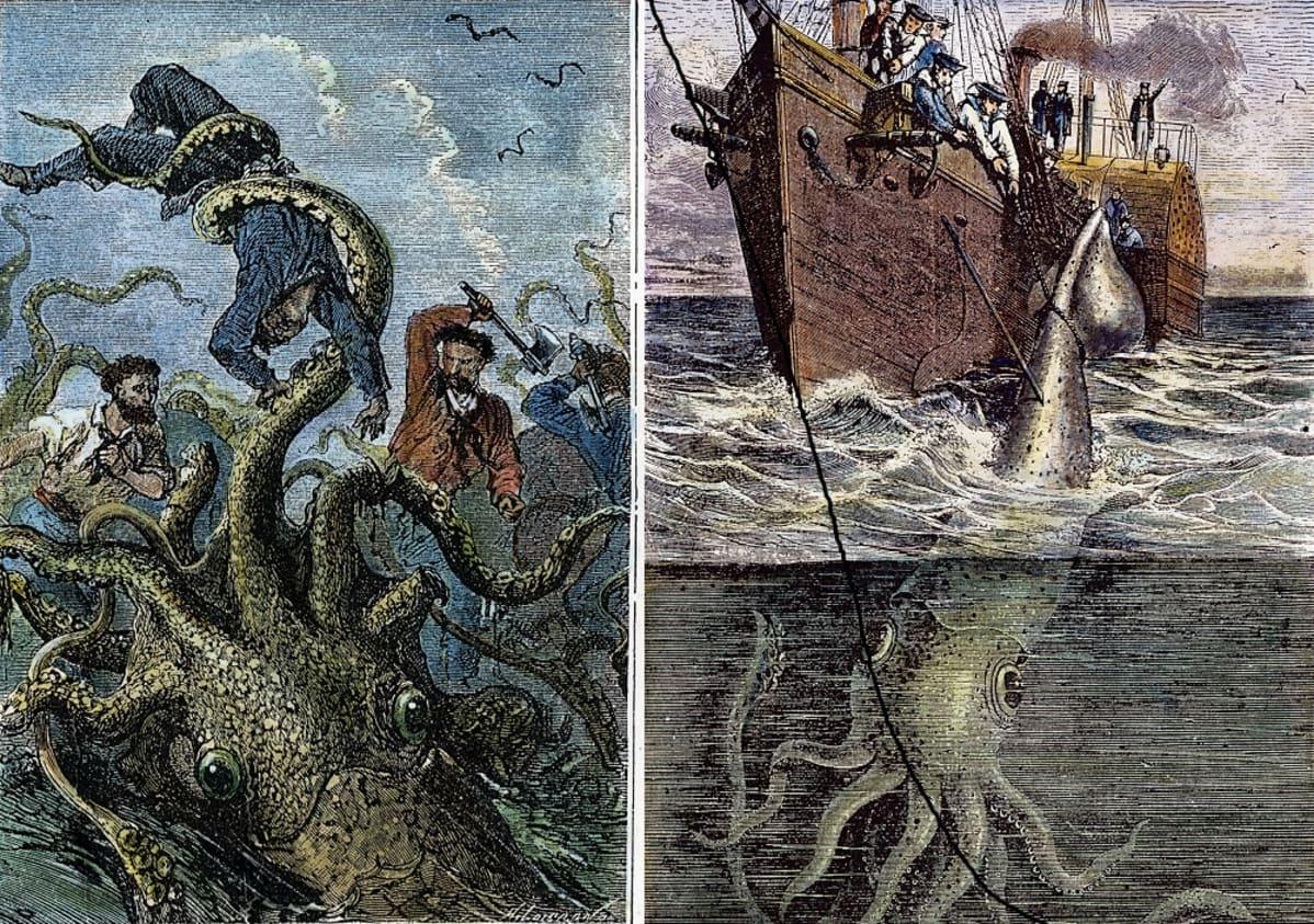 Kaksi väritettyä puupiirrosta. Toisessa valtava eläin heiluttelee merimiestä lonkeroillaan ilmassa ja muu miehistö yrittää pelastaa hänet kirveillä. Toisessa miehistö yrittää kiskoa köysillä alukseen otusta, johon on ammuttu useita harppuunoita.