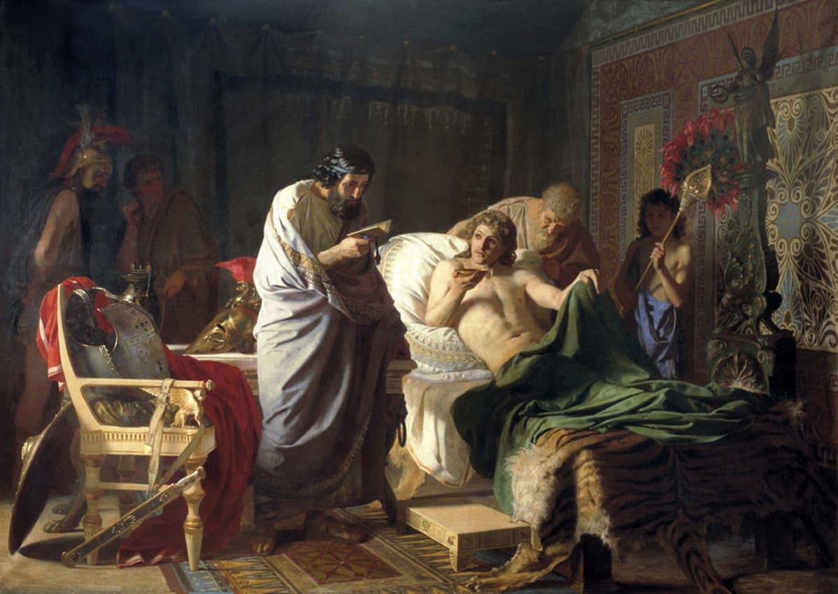 Kirjaa lukeva lääkäri puolittain peiton alla makaavan miehen vuoteen ääressä. Tuolilla  ovat hänen haarniskansa, viittansa, miekkansa ja kilpensä.