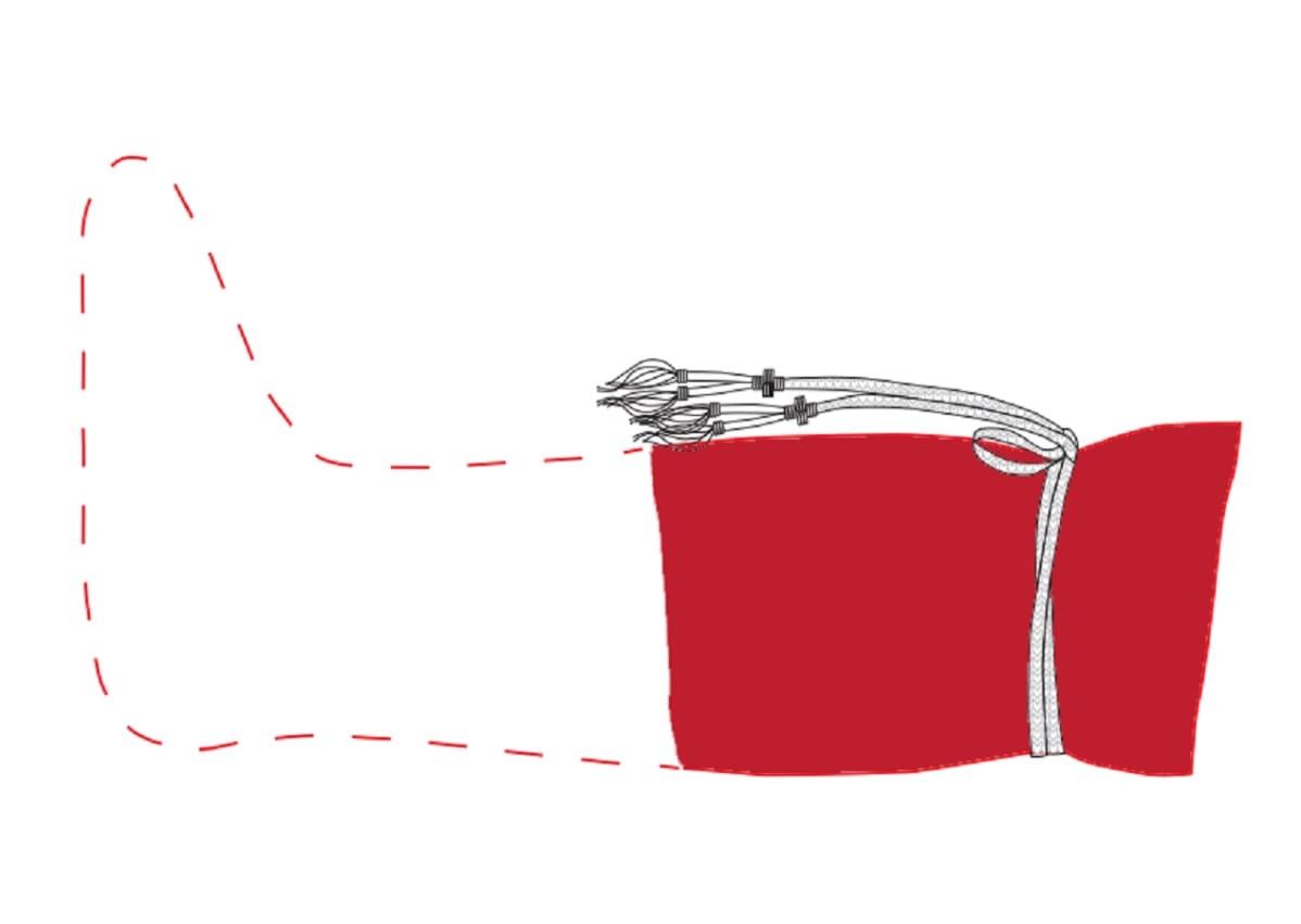 Piirros punaisesta sukasta ja kuviollisesta nauhasta, jolla sukka on solmittu. Sukan puuttuva osa merkitty katkoviivoilla.