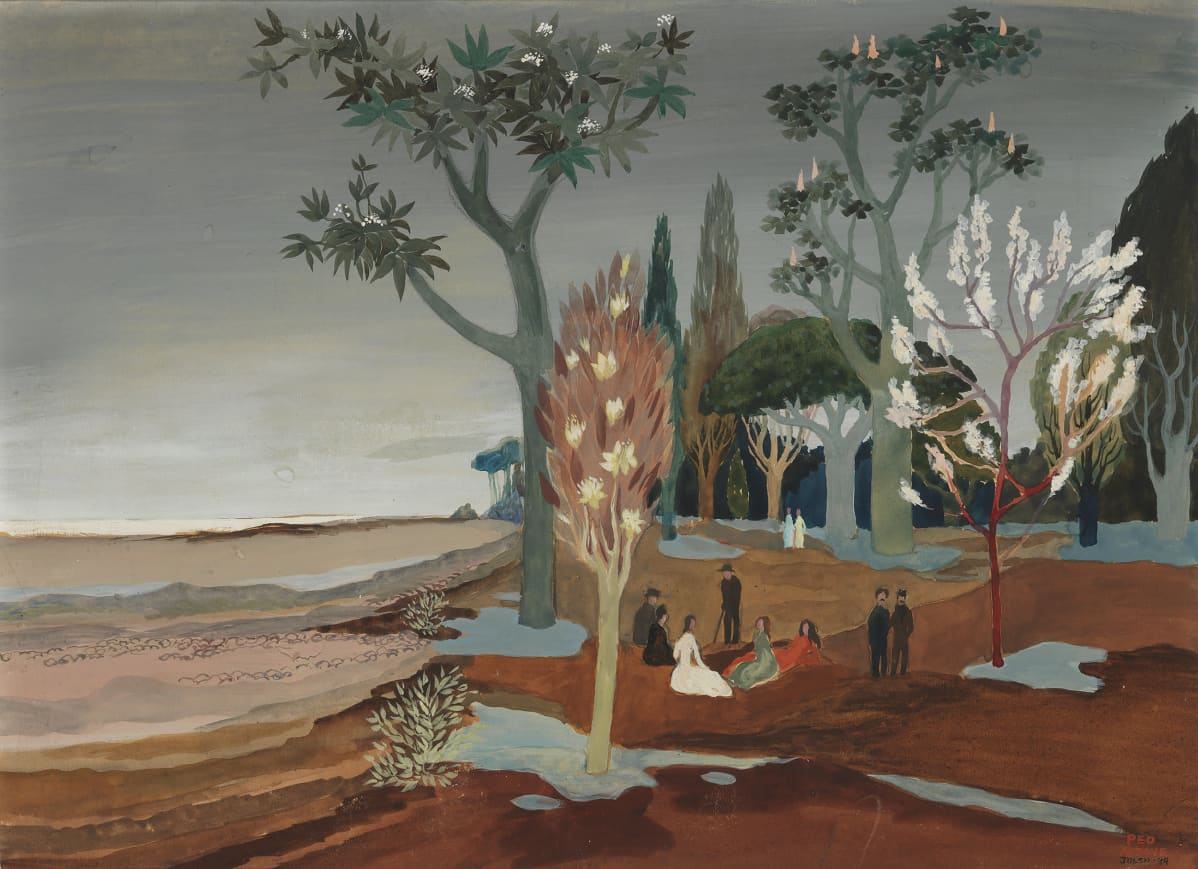 Tove Janssonin maalaus Maisema 1930-luvulta.