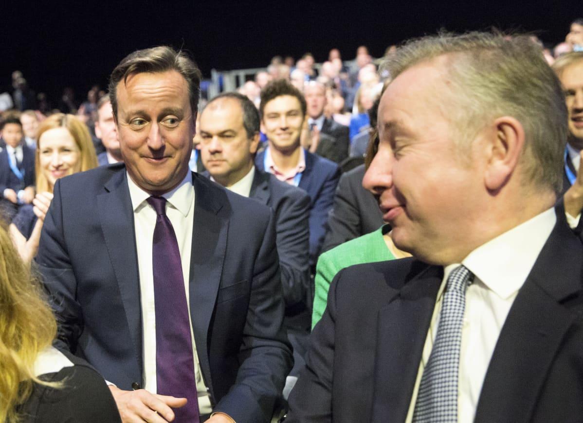 David Cameron ja Michael Gove istuvat katsomossa ja hymyilevät toisilleen.