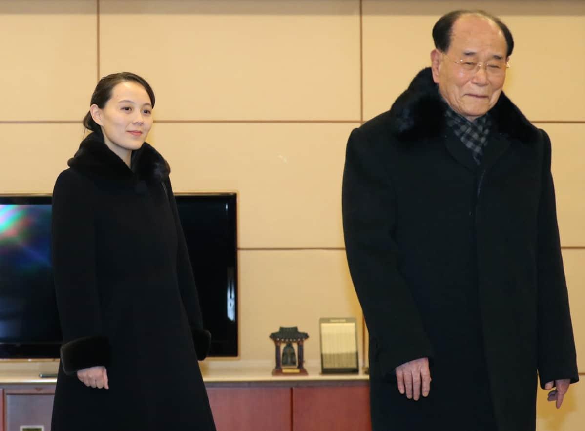 Pohjois-Korean delegaation Kim Yo-Jong ja Kim Young-nam Etelä-Koreassa.