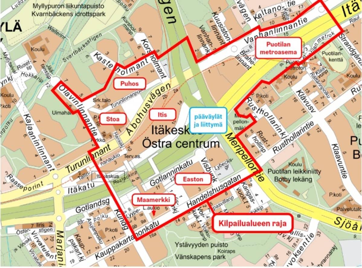 Karttakuva Itä-Helsingistä, johon on merkattu alueen ideakilpailun kilpailualue.