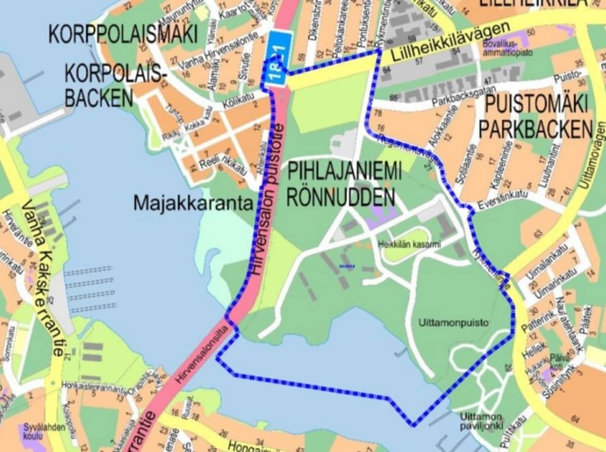 Suunniteltu asuinalue rajautuisi Vähäheikkiläntien, Hirvensalon puistotien ja Rykmentintien väliin.