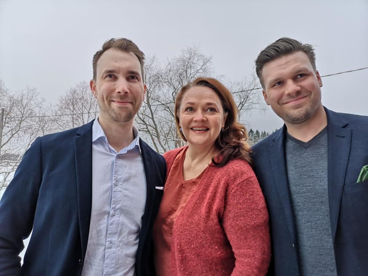 Olli Parviainen, Lilly Korpiola och Petro Poutanen.