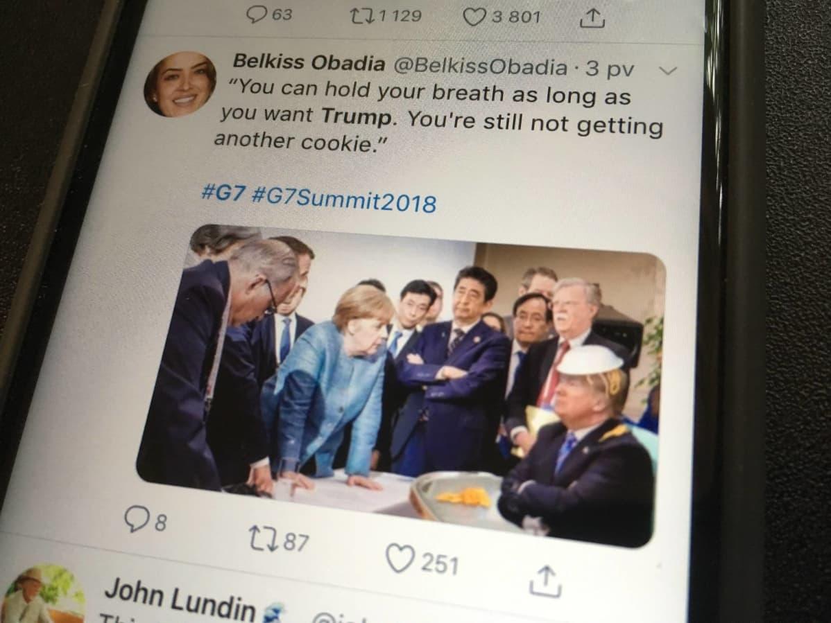 Donald Trumpin esiintyminen G7-kokouksessa Kanadassa tuotti lukuisia meemejä.
