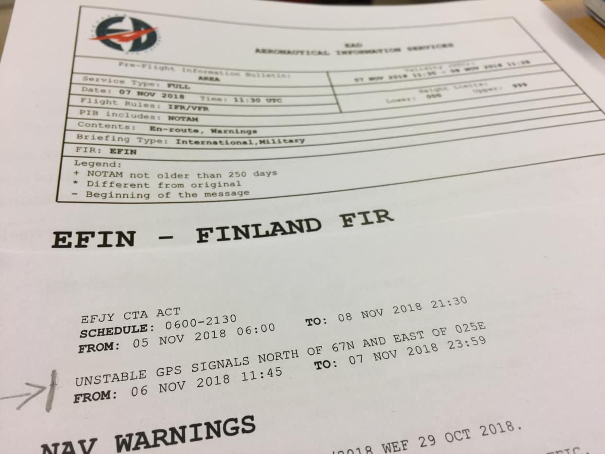 Suomen lennonvarmistuksen ANS Finlandin 6.11.2018 antama varoitus laajalla alueella  GPS häiriöistä oli ensimmäinen laatuaan Suomessa.