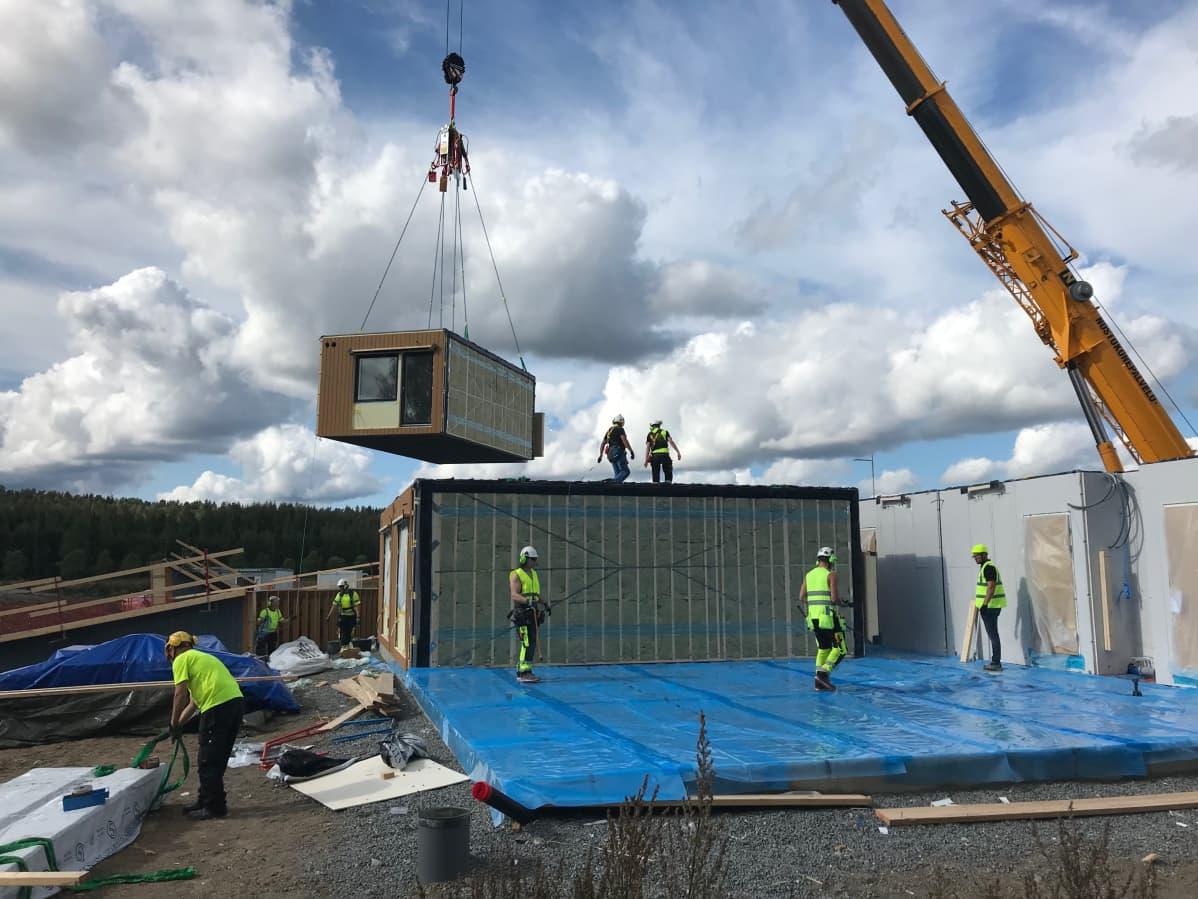Puukerrostalomoduulia nostetaan paikoilleen Hämeenlinnan Visamäessä