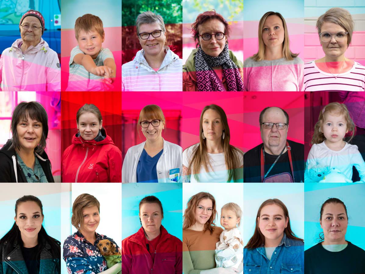 Kuvakollaasi henkilöistä, jotka kertovat omista kokemuksistaan Suomen terveydenhuollosta.