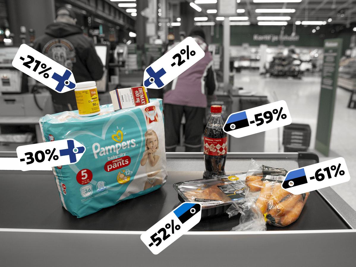 Tuotteita liukuhihnalla. Helsingissä halvempia kuin Tallinnassa ovat: D-vitamiini -21%, ibumax särkylääke -2% ja Pampers vaipat -30%. Tallinnassa halvempia ovat puolen litran coca cola pullo -59%, porkkanat -61% ja kanafile -52%.