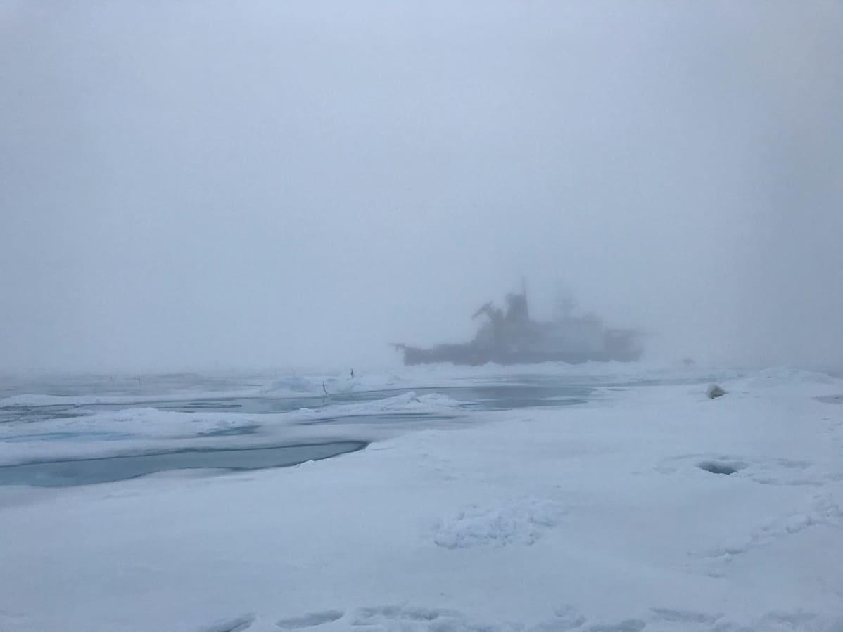 Polarstern-alus häämöttää sumussa.
