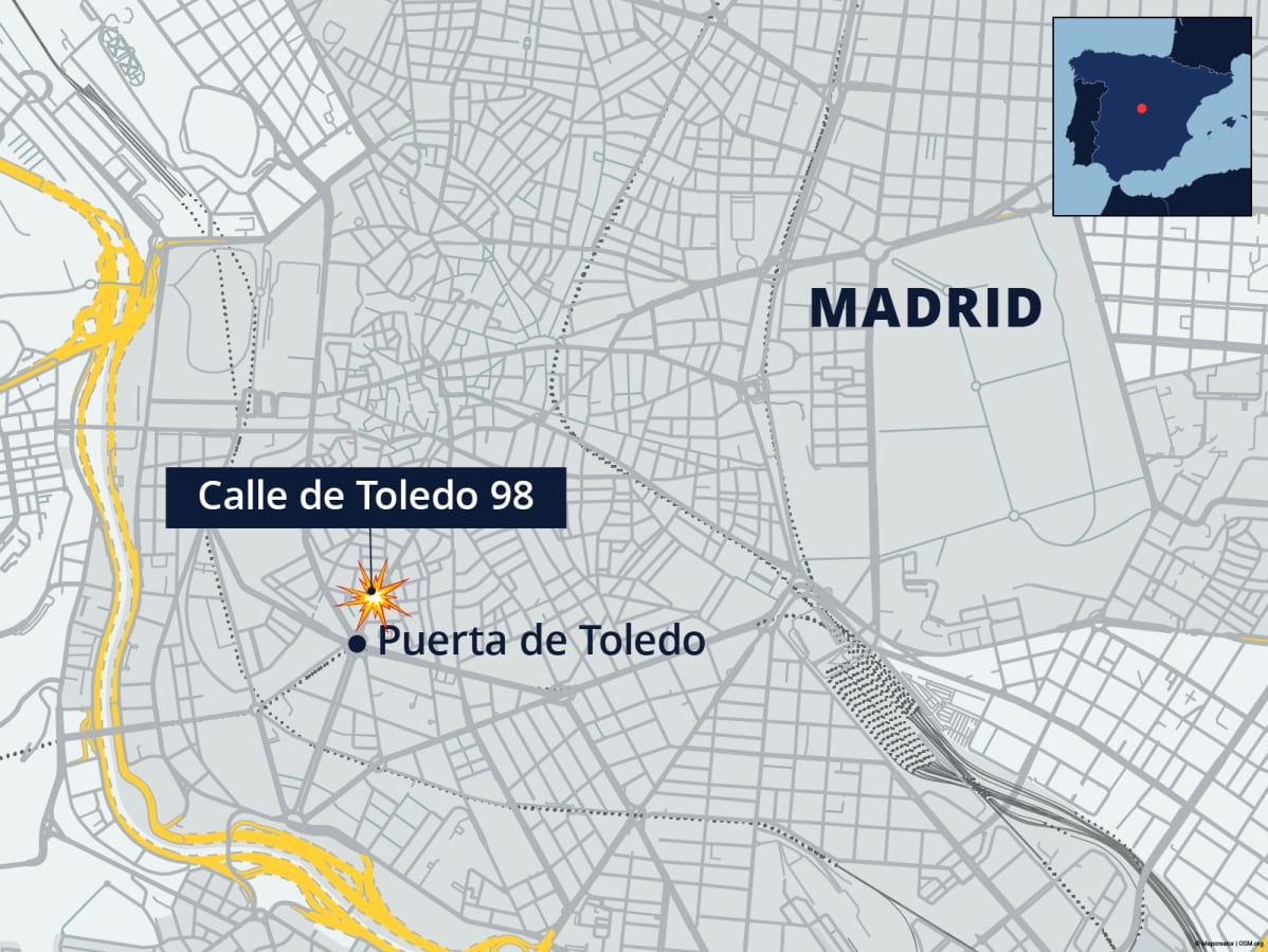 Madridin räjähdyspaikka kartalla.