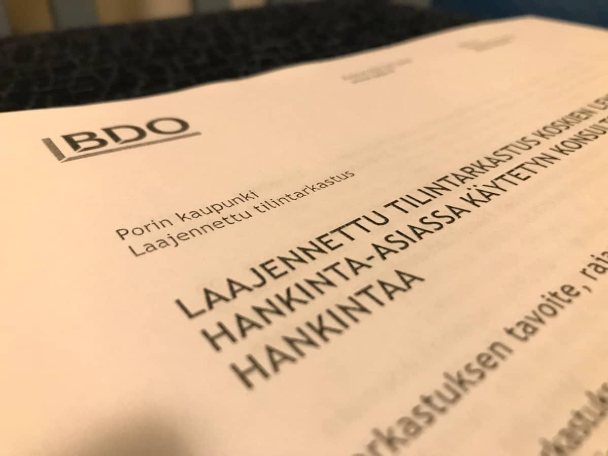 Tilintarkastusyhtiö BDO:n tekemä tilintarkastusraportti Porin kaupungin lentoliikennekonsulttien hankinnasta.