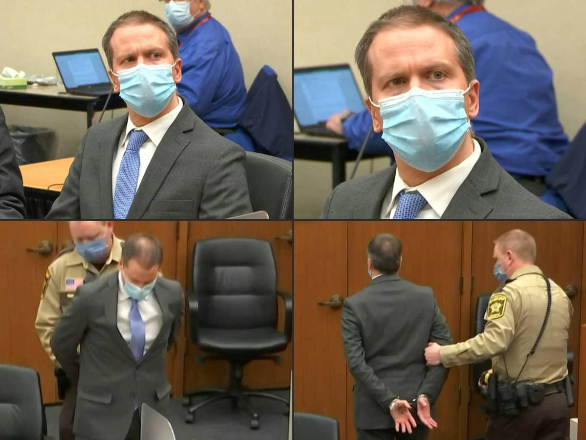 Derek Chauvin oikeudessa.