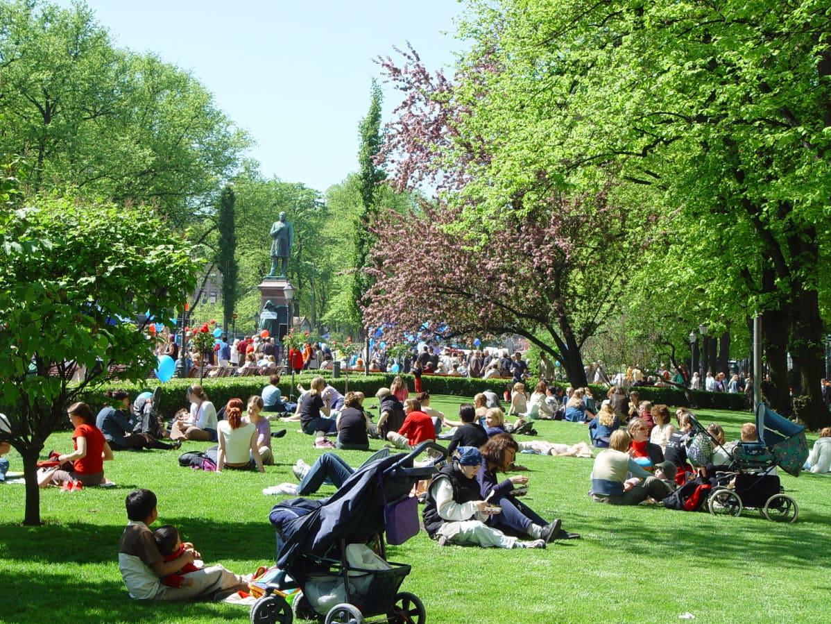 Ihmisiä nurmikolla Espan puistossa.