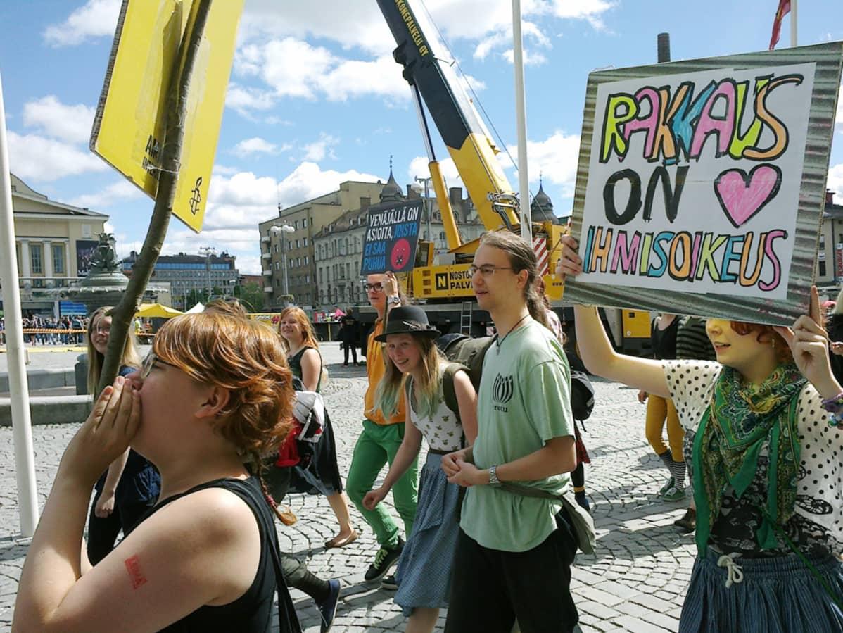 Pride-kulkue Tampereella 15. kesäkuuta.